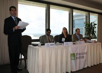 From left, John Kaliski of Cambridge Systematics, panel moderator; Husein Cumber of Florida East Coast Railway; Margaret Jennesse, East Florida division president for GreenPointe Homes; Brad Thoburn, JTA vice president Long Range Planning and System D...