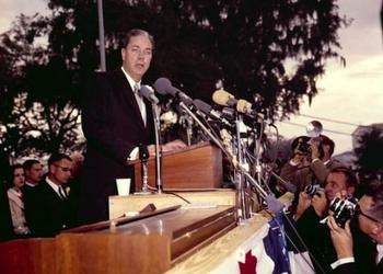 Florida Gov. Haydon Burns gives his 1955 inaugural address in Tallahassee. Burns was a former mayor of Jacksonville. (Photo from floridamemory.com)