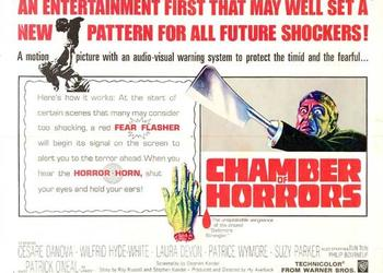 "The motion picture ""Chamber of Horrors"" was being shown at the Cedar Hills and Town and Country theaters. It was noted that before scenes some audience members might find shocking, a red ""fear flasher' would appear on the screen. A few seconds later a..."