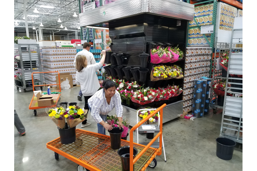 Workers prepare flowers in advance of today's grand opening. Perishable items were the last goods stocked at the store, which started receiving merchandise about three weeks ago.