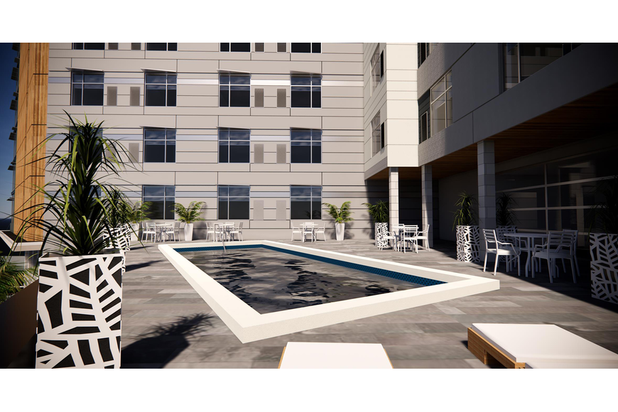 A pool and deck is planned for the second level, along with a fitness center.