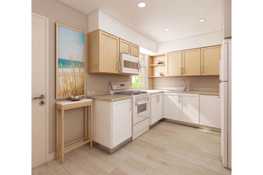A rendering of a renovated kitchen at Valencia Way.