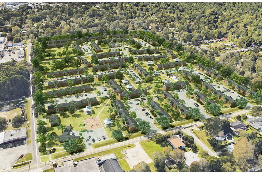 A rendering of an aerial view of Valencia Way.