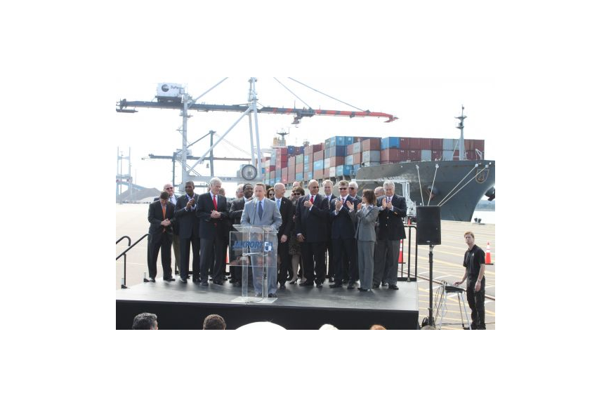 With Gov. Rick Scott, Mayor Alvin Brown and others behind him, JaxPort board Chair Joe York talks about channel deepening and its impact on the area. The Monday news conference highlighted recent board decisions approving an Intermodal Container Trans...