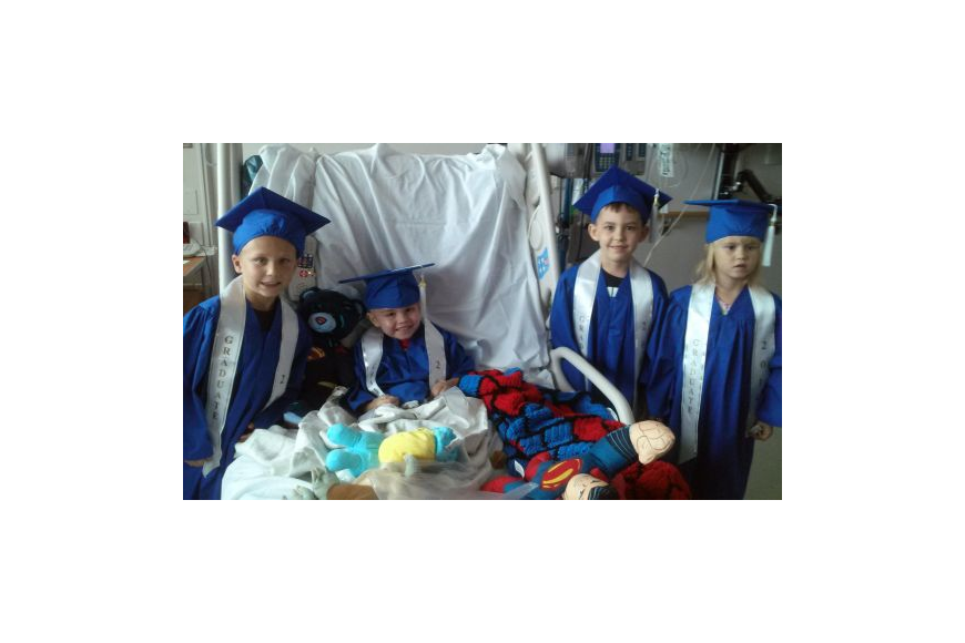 Keegan Davis, 4, was able to graduate with some of his classmates during a special ceremony at Wolfson Children's Hospital.