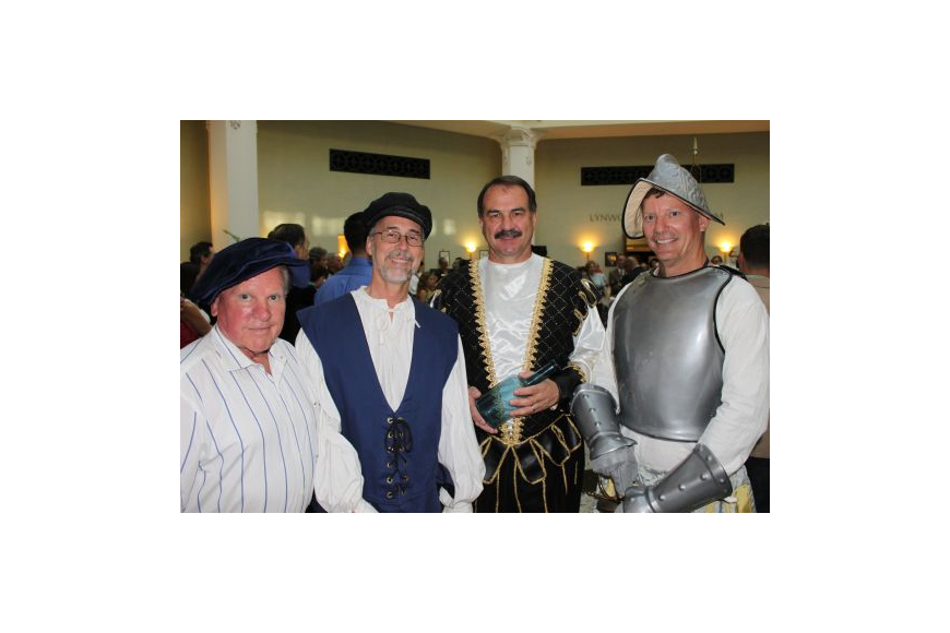 City Council members (from left) Don Redman, Bill Bishop, John Crescimbeni and Stephen Joost, were among those who donned costumes to play the roles of figures of the time.