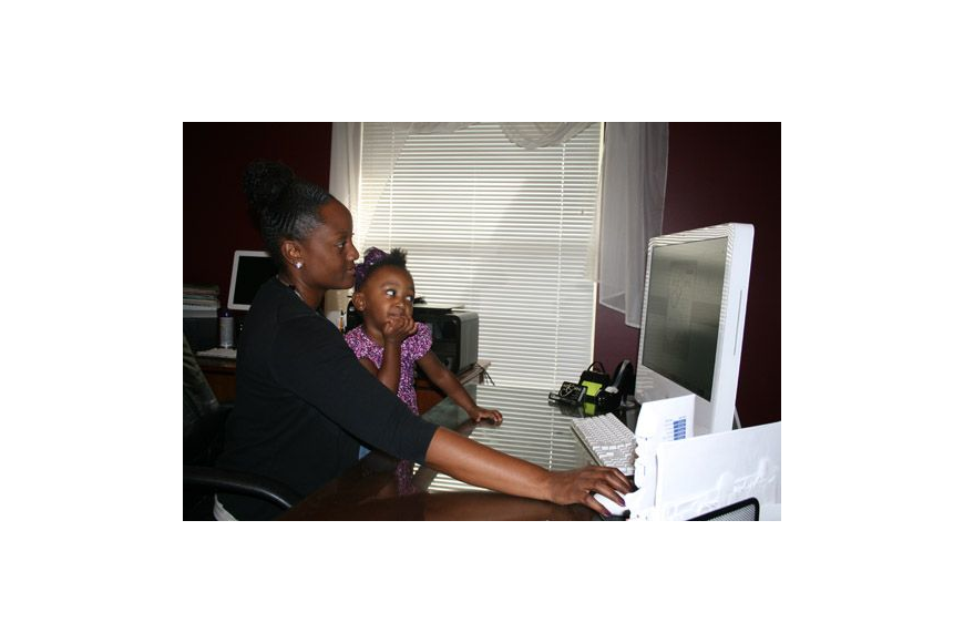 Felicia Wright operates her graphic design business from her North Jacksonville home, often with the help of her 2-year-old daughter, Savannah. She also started Mentoring Mamas for working mothers.
