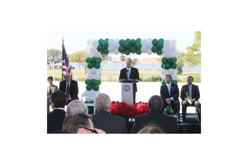 Jacksonville University Provost Donnie Horner was among several speakers who discussed the impact of Dolphin Pointe. The $18.5 million facility will create more than 500 jobs.