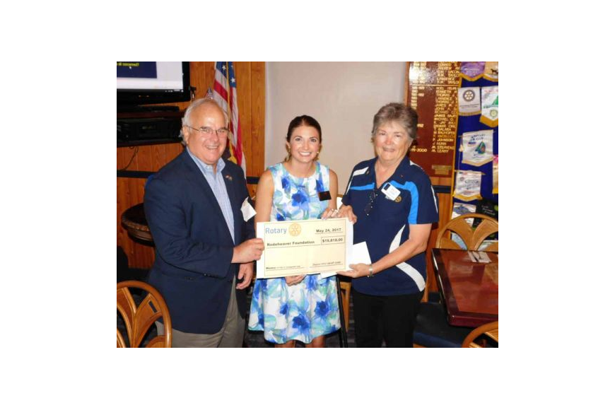 John Ernst, president-elect of St. Johns Rotary Club; Krista Purcell, Rodeheaver Foundation director of development; and Coastal Rotary President Sallie O'Hara.