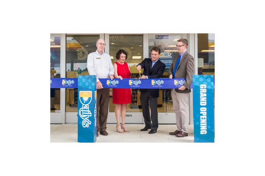 District 6 Jacksonville City Council member Matt Schellenberg, HabiJax CEO Mary Kay O'Rourke, Daily's President and CEO Aubrey Edge and Brett Hartley, principal of Crown Point Elementary School, cut the ceremonial ribbon to open the Daily's convenienc...