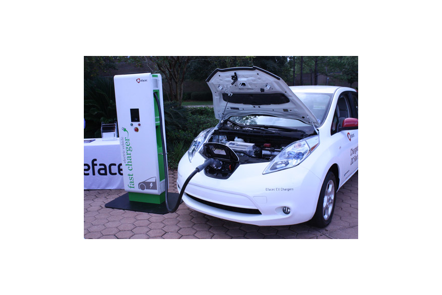 Photos by Joe Wilhelm Jr. - Alternative fuel vehicles and equipment were on display Friday at the University of North Florida. The fast-charger station is able to recharge an electric battery in 15 minutes instead of 4-6 hours.