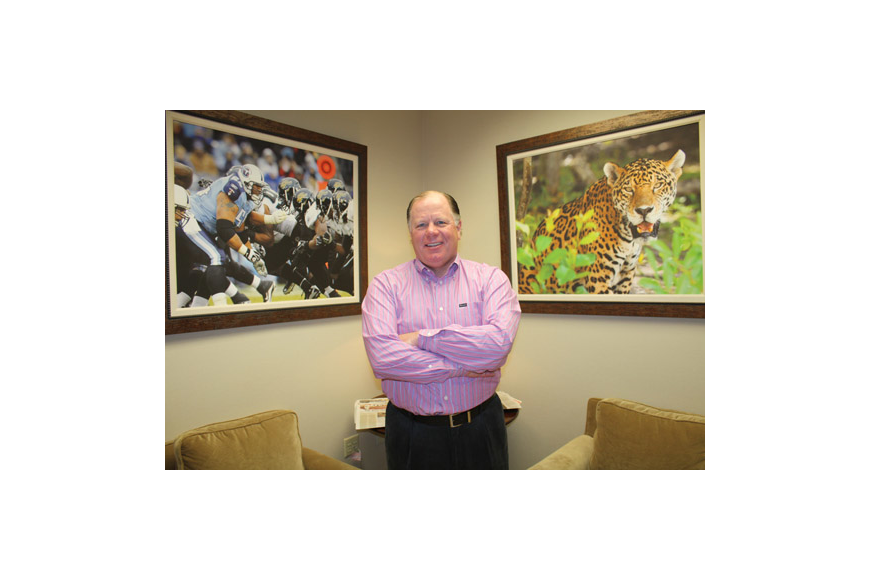 Photo by Joe Wilhelm Jr. - Jacksonville Jaguars President Mark Lamping is approaching one year with the organization and has settled into his office at EverBank Field. He was named president of the organization a year ago today. He estimates he spends...