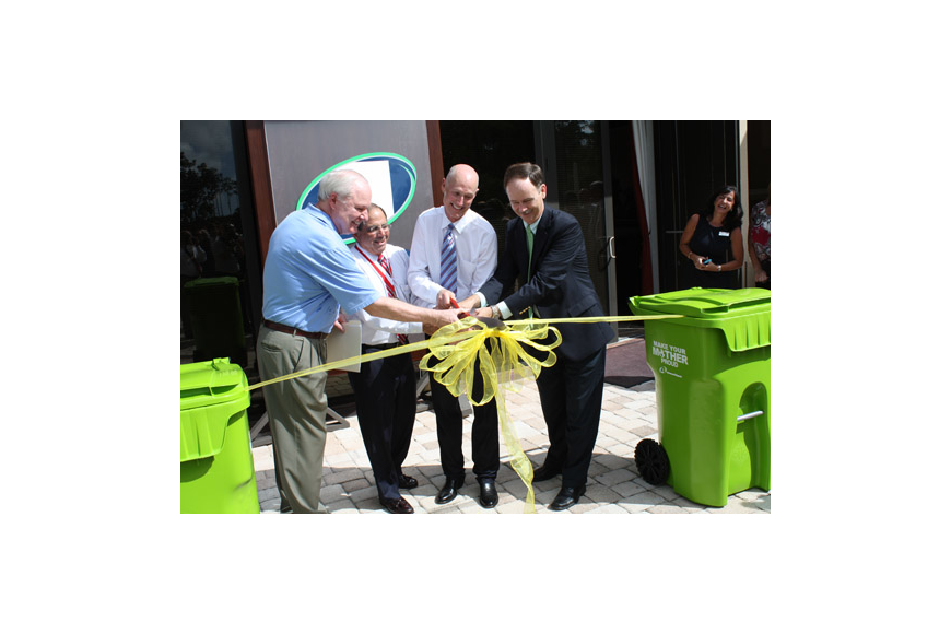 Photo by Joe Wilhelm Jr. - From left, Jay Morris, St. Johns County Board of County Commissioners chair, Charlie Appleby, Advanced Disposal chairman and CEO, Gov. Rick Scott and state Rep. Lake Ray cut the ribbon Monday on the new Ponte Vedra headquart...