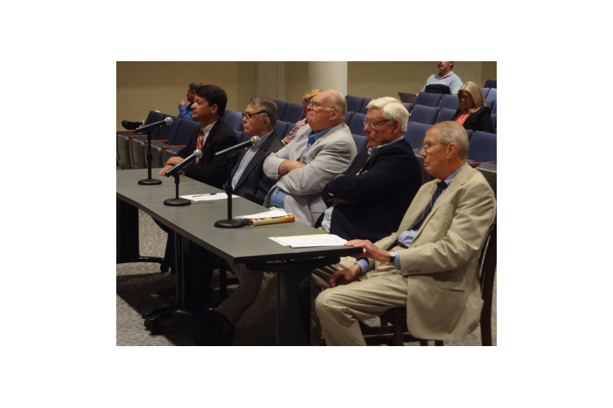 Photo by David Chapman - From left, Rick Mullaney, former City general counsel; Bill Basford, former Duval County commissioner and City Council member; Jim Rinaman, member of the original consolidation commission and now the consolidation task force; ...